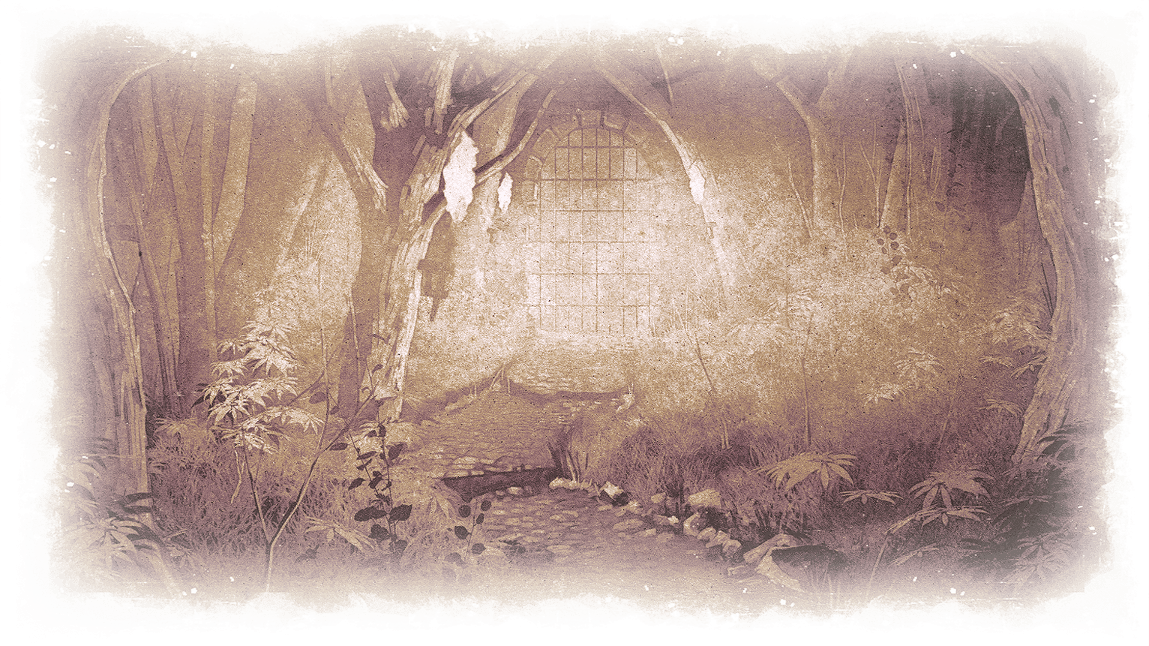 Fallen Dungeons Intro: The hidden postern seen through overgrown woods